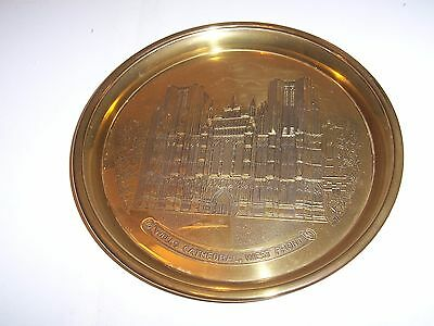 VINTAGE BRASS PLAQUE PLATE  engraved  WELLS CATHEDRAL , WEST FRONT