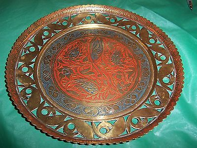 VINTAGE BRASS  INDIAN PLATE  PLAQUE  lovely engraving