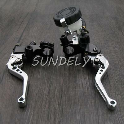 Silver 7/8''Motorcycle's Brake Clutch Master Cylinder Levers Reservoir Universal