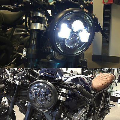 "Motorbike Cafe Racer CREE LED Headlight upgrade Black 7"" Inch E & DOT Approved"