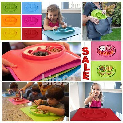 One-Piece Silicone Mat Baby Kids Suction Table Food Tray Placemat Plate Lovely U