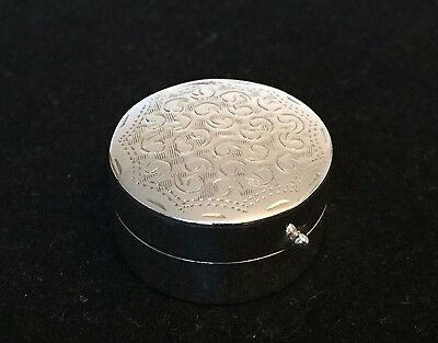 HALLMARKED Solid Sterling Silver Round Pill BOX Case Engraved VGC Classic Design