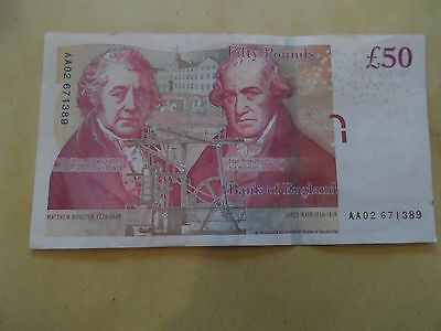 Bank Of England £50 Fifty Pounds Note Chris Salmon Low Number