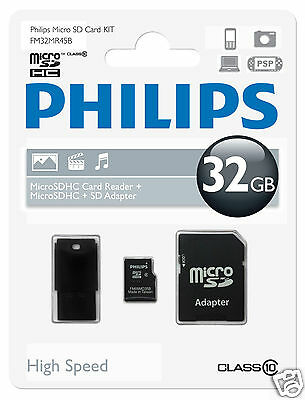 Philips MicroSDHC-Card 32GB, Class10 mit SD und USB Adapter