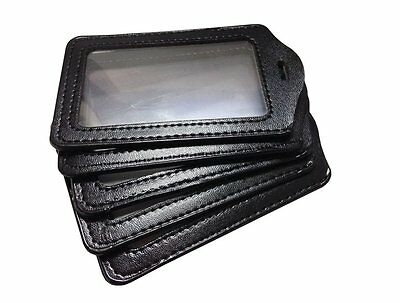 10pcs Faux Leather Business ID Credit Card Badge Holder Clear Pouch Case