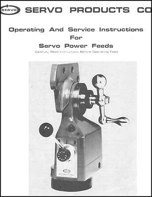 Servo Products Co. Type 150 and 140 Power Feed Manual