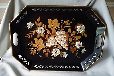 Vintage Black Toleware Tray Hand Painted Tole  White Grapes Flowers Gold Leaves