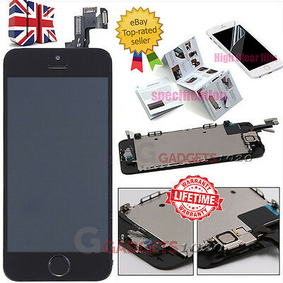 For iPhone 5S Black LCD Touch Screen Digitizer Replacement + Home Button +Camera