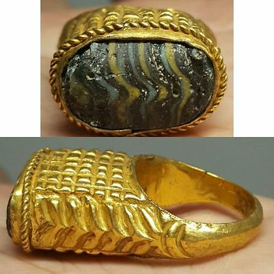 24k Gold gilded silver  ring with roman glass insert
