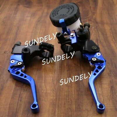 UK Motorcycle Universal Blue Clutch Brake Levers Master Cylinder Reservoir 7/8""