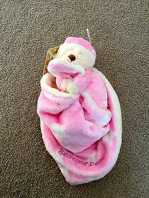 New With Tags Mothercare Soft Toy Baby Comforter Pink Bedtime Bear