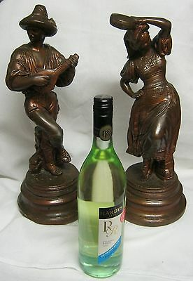 VINTAGE PLASTER FIGURINES ( PAIR)  Circa 1930's/40's - made in USA