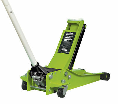 Trolley Jack 2 Tonne Low Entry Twin Piston Rocket Lift  Hi Vis Green Heavy Duty