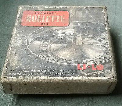 BAKELITE ROULETTE WHEEL by LI-LO in original box, instructions, playing 'cloth'