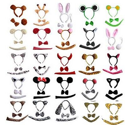 Party Animal Ears Hairband Headband Tail Costume Animal Cosplay Dog Devil Milk