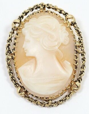 Antique Lady Cameo Pendant 14k Yellow Gold Pin Brooch