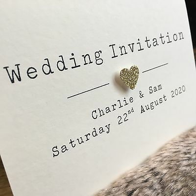 Glitter Heart Personalised Day or Evening Handmade Wedding Invitations