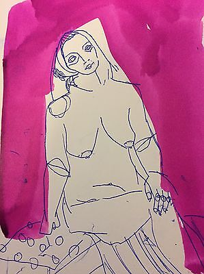 Original Life Drawing By Michelle Murray Mixed Media Ink Carbon Nude Female