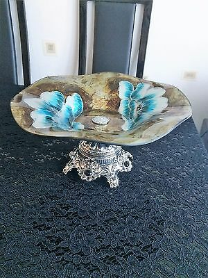 Large decorative glass painted fruit bowl on stand turqouise brown and gold
