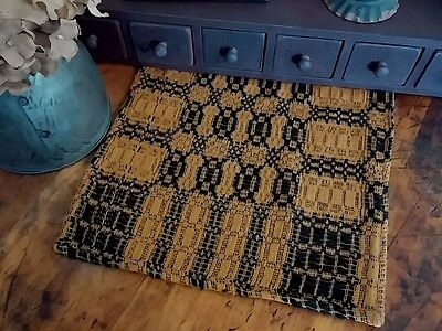 Primitive Country Woven Black & Mustard Long Table Runner