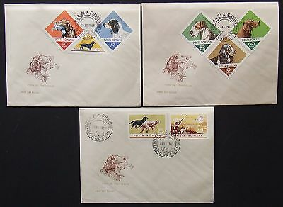 Romania - Dogs,3 FDC, first day cancelled,yellowed paper, easily folded, IM 0836