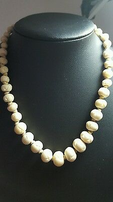 "Antique / Vintage Bovine Bone Graduated Bead Necklace 18"" hand knotted"