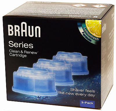 3 Pack Braun CCR3 Clean and Renew Mens Electric Shaver Hygienic Refill Cartridge