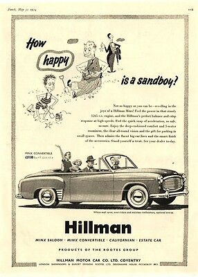 The  HILLMAN MINX CONVERTABLE MOTOR CAR  (1954 Advertisement)
