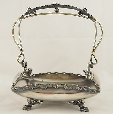 Antique Wilcox Quadruple Plate Silverplate Swing Handled Brides Basket