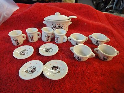 15pc set Campbells Soup kids miniature plate cup bowl serving dish with spoon