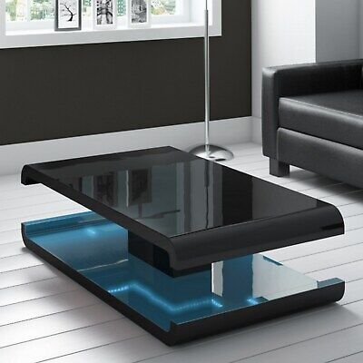 Black Table Led 3d Coffee Table Illuminated Infinity