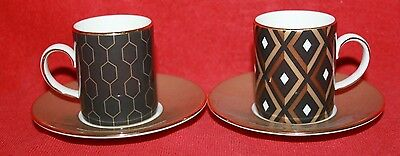 Wedgwood ~ Arris Design ~ Espresso Cups & Saucers ~ First Quality.