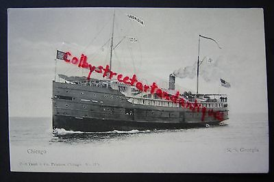 S.S. GEORGIA Steamer, Chicago, vintage postcard, steam ship, Goodrich Transit Co