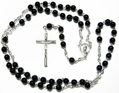 Silver large long black glass rosary beads for men mens man silver plated