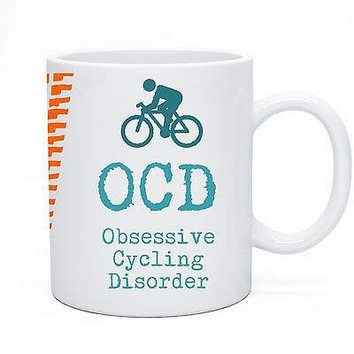 Bicycle Cyclist Tea Coffee Mug Cup OCD Obsessive Cycling Disorder Gift Idea