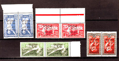 Gr. Liban ,Lebanon stamps inverted surcharged Olympic 2 Lang., paire ,MNH **