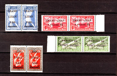 Gr. Liban ,Lebanon stamps inverted surcharged Olympic 1 lang., paire ,MNH **