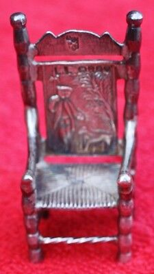 Antique 1889 English sterling silver Dollhouse MINIATURE CHAIR