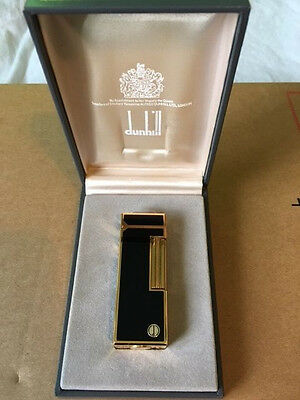 Dunhill Rollagas Black Lacquer & Gold Pattern - Mint condition- Boxed