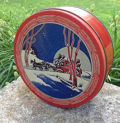 Vintage Christmas Candy Tin Box Stagecoach