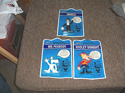 Dudley Doright,Snidely & Mr Peabody Rubber Figures in original Package