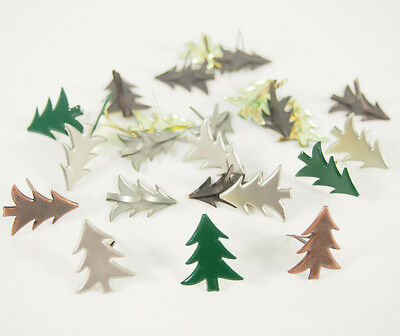 Scrapbooking Brads Lot of 24 Christmas Trees 3 Colors Holiday Stamping Paper Art