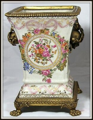 """Extraordinary""""Pair of Hand Painted Porcelain & Bronze Jardineires""""(12""""H X 9.5""""W)"""