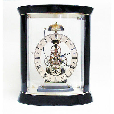 Passing Strike Oval Skeleton Mantel Clock Gold Plated SKC12  New