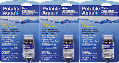 Potable Aqua Camping Water Purification Germicidal Tablets - 3 Pack