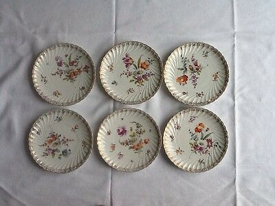 Set Of 6 Lovely Dresden Hand Painted Plates