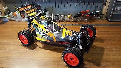 Tamiya vintage 1/10 rc buggy top force with high cap dampers aluminium carbon