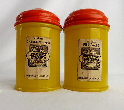 Gemco Pantry Pops Shakers Lot of 2 Sugar Cheese Spice Yellow Orange Lids