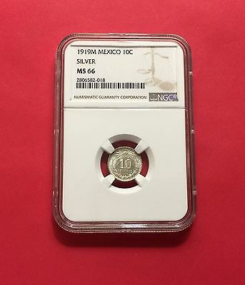 Mexico-OUTSTANDING UNC 1919-M Silver 10 Centavos ,certified by NGC MS-66.