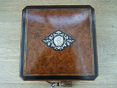 Lovely 19C French Inlaid Antique Jewellery Box - Fab Interior